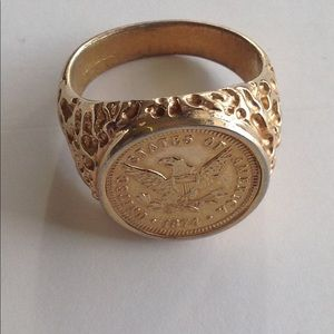 Other - Men's Gold Tone Faux Coin Ring